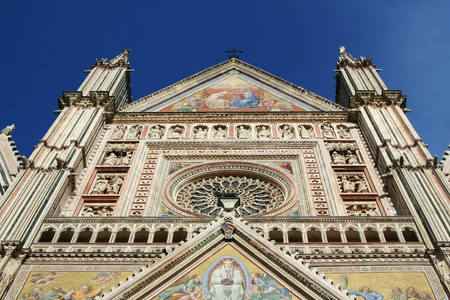 terni: Cathedral of Orvieto in Umbria in Italy. Detail of the facade in the Gothic style. Stock Photo