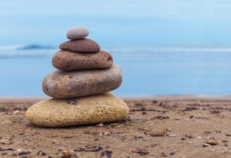 tyrrhenian: Stack of pebbles on the beach of the Tyrrhenian Sea.