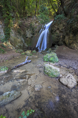 spello: Waterfalls of the Menotre in Altolina Park in Foligno, Italy.