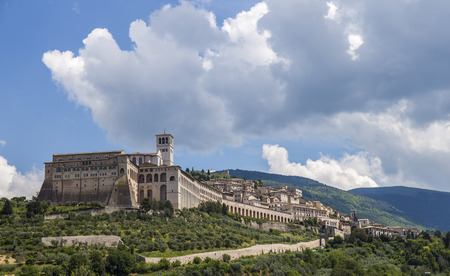 of assisi: View of the beautiful city of Assisi in Italy Stock Photo