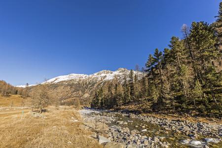 ova: River Ova de Roseg Val Roseg in Switzerland Stock Photo