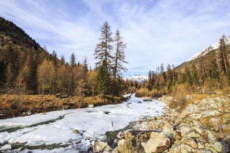 ski walking: River Ova de Roseg Val Roseg in Switzerland Stock Photo