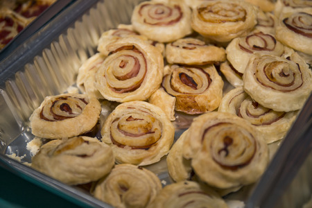 Puff pastry at birthday buffet. Stock Photo