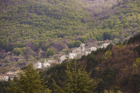 Civitella Alfedena in the National Park of Abruzzo in Italy. Stock Photo