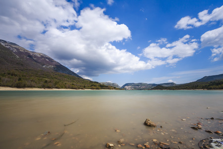 Landscape of Lake Barrea in the National Park of Abruzzo in Italy.