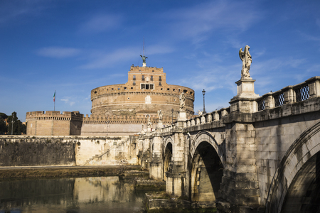 Scenery of the fortress of Castel Sant'Angelo and the bridge over the Tiber River