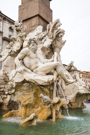 Fountain of the Four Rivers in Italy.