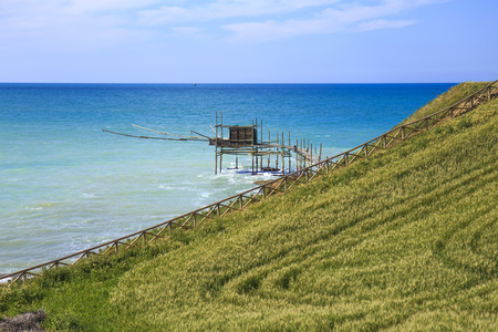 Trabocchi on the Adriatic Sea in Vasto, Italy.