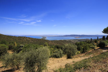 View of the lagoon of Orbetello, seen from Argentario mountain