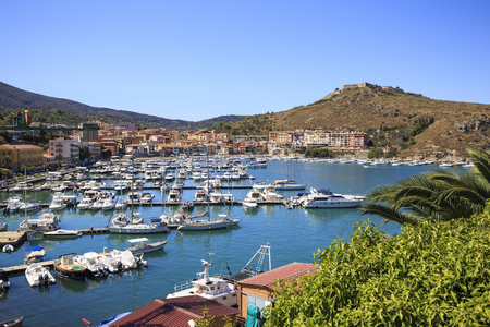 Aerial view of Porto Ercole in Italy