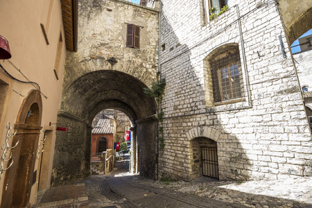 Road in the ancient village of Narni in Italy. Stock Photo