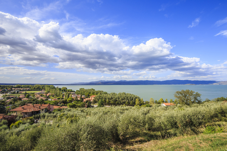 View from Castiglione del Lago on Lake Trasimeno in Italy. Stock Photo