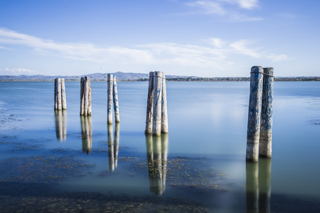 Mooring of the boats of Lake Trasimeno in Umbria