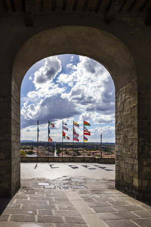 View of the entrance to the town of Castiglione del Lago in Italy. Stock Photo - 85177385