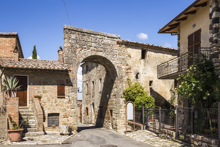 Road in the ancient village of Chiusi in Tuscany