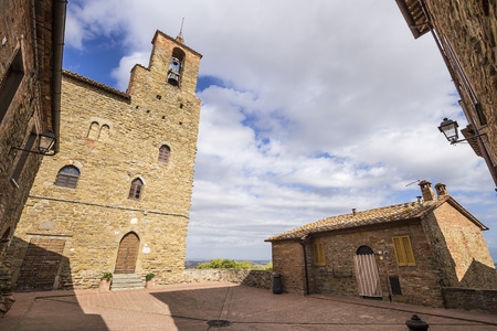 Panicale, an ancient medieval town in the province of Perugia in Italy. Podesta's Palace. Stock Photo - 85227735
