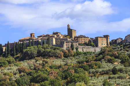 Panicale, 이탈리아의 페루자 지방에있는 고대 중세 도시. 스톡 콘텐츠