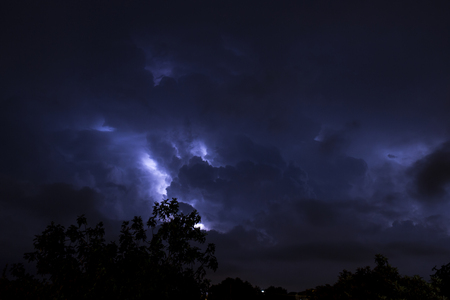 Thunderstorms in the night in Rome.