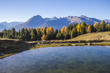 Lake in the mountains of Mortirolo in Valtellina, Italy Stock Photo