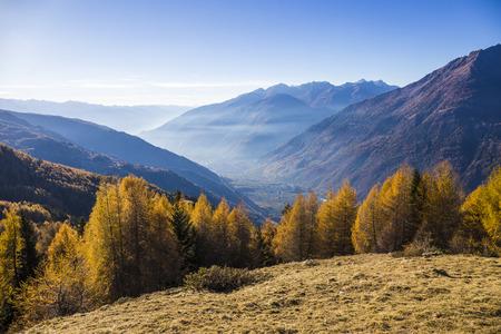 ski walking: View of the valley of Tirano and Sondrio in Valtellina, Italy. Stock Photo