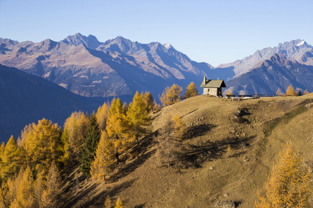 Church on the mountains of Valtellina, Italy.