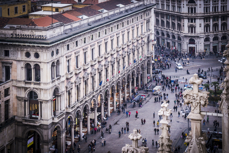 Aerial view of Milan cathedral in Italy.