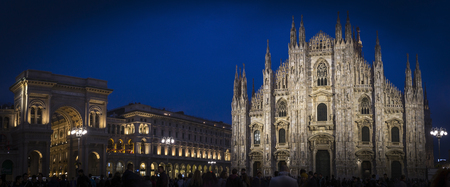Night landscape of Milan Cathedral Square in Italy.