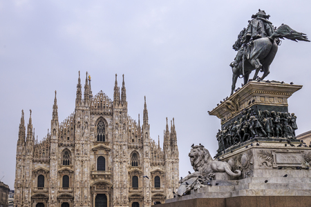 Square of the Duomo of Milan in Italy.