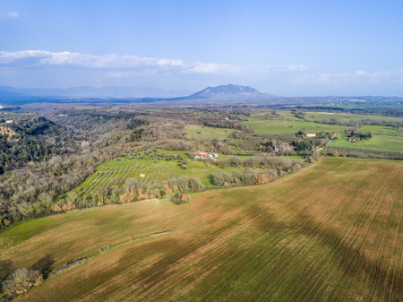 Landscape of the Roman countryside. Mount Soratte in Italy Stock Photo - 100774649