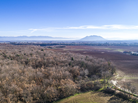 Aerial view of Mount Soratte. Landscape of the Roman countryside in Italy Stock Photo