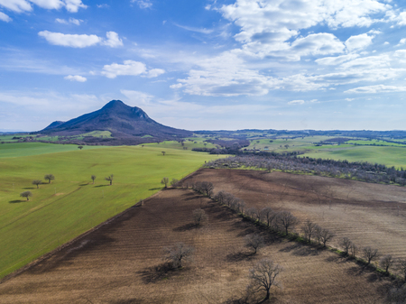 Aerial view of Mount Soratte. Landscape of the Roman countryside in Italy.