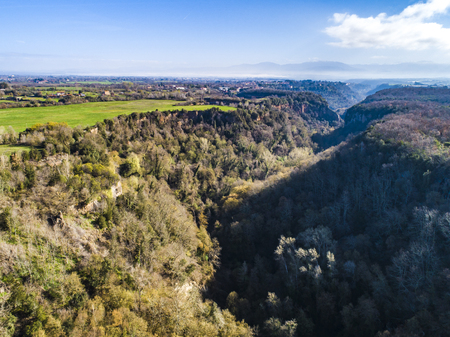 Landscape of the forest in Castel Sant Elia, in the province of Viterbo in Italy. Stock Photo