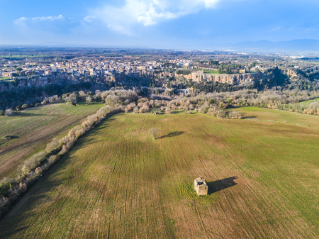 Aerial view of Castel Sant Elia in Italy, a beautiful village built on the rock Stock Photo - 101064395