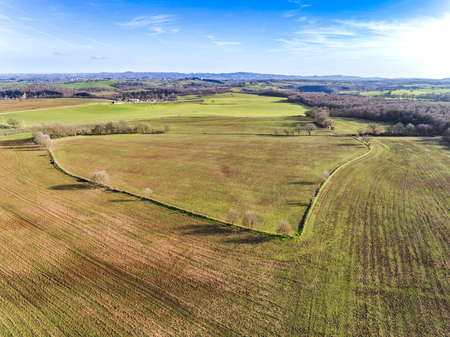 Aerial view of a plowed field in Italy. Stock Photo - 101064396