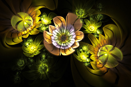 Abstract 3d flowers on black background. Computer-generated fractal in orange, yellow, beige, green, pale violet and grey colors.