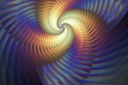 Abstract multicolored psychedelic spiral on deep blue background. Creative fractal design in bright orange, yellow, purple and blue colors.