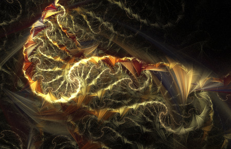 wild fire: Wild fire. Abstract multicolored spirals on black background. Computer-generated fractal in red, orange, yellow and violet colors. Stock Photo