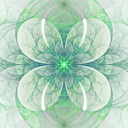 green and purple: Abstract symmetrical floral ornament on white background. Computer-generated fractal in emerald green and blue colors