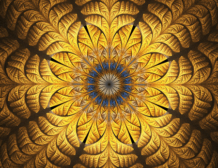 glass ornament: Golden flower. Abstract glowing stained glass with floral pattern on black background. Computer-generated fractal in blue, yellow, and brown colors.