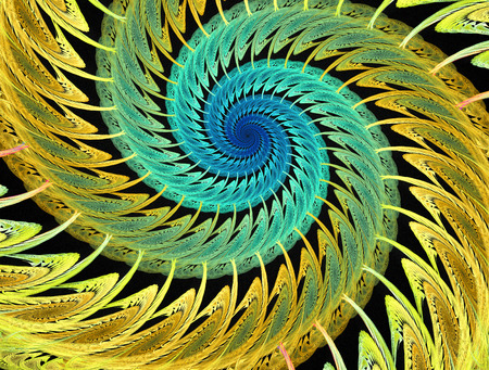 Abstract multicolored psychedelic spirals on black background. Computer-generated fractal in emerald green, yellow and blue colors. Stock Photo