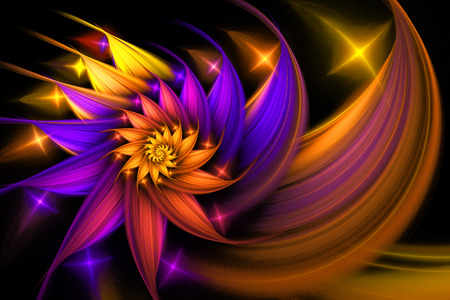 Exotic flower. Abstract shining multicolored spiral on black background. Computer-generated fractal in yellow, orange, rose and violet colors.