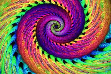 orange rose: Abstract multicolored psychedelic spiral on black background. Computer-generated fractal in bright rose, green, purple, yellow, orange and blue colors.