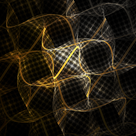 airy texture: Abstract waves of transparent ornamented fabric on black background. Creative fractal design in beige, orange, yellow and white colors.
