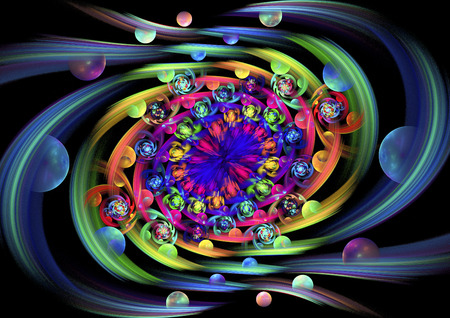 Fruits and flowers of Eden. Abstract multicolored swirl on black background. Computer-generated fractal in green, orange, blue, red, rose, violet and yellow colors. Stock Photo