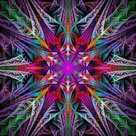 Abstract flower mandala on black background. Symmetrical pattern in green, red, blue and purple colors. Fantasy fractal design for postcards, wallpapers or clothes.