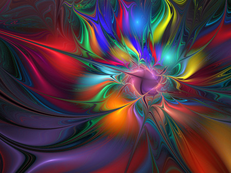 Bright galaxy. Abstract colorful drops on black background. Fantasy fractal texture for postcards or t-shirts. Stock Photo