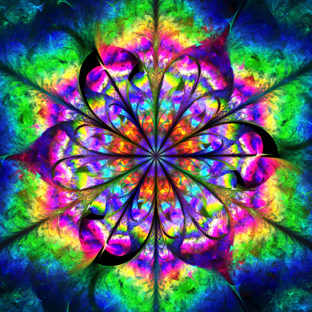 Abstract psychedelic flower mandala in rainbow colors. Creative fractal design for t-shirts or postcards. Stock Photo