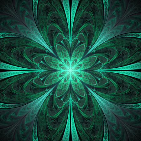 Abstract flower mandala on black background. Symmetrical pattern in emerald green colors .. Fantasy fractal design for postcards, wallpapers or clothes.