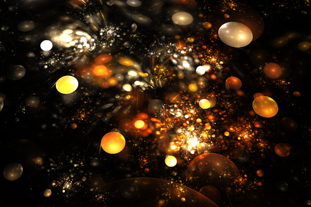 fiery: Golden sparkles. Abstract colorful orange and yellow drops on black background. Fantasy fractal texture for postcards or t-shirts.