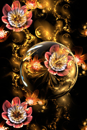 windy energy: Rose flowers and golden crystals on black background. Fantasy fractal design for postcards or t-shirts. Stock Photo